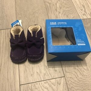 Purple baby shoes shearling lined